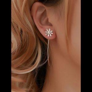 Silver, Dangle, Flower Earrings